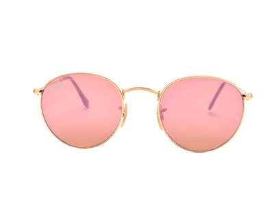 RAY BAN Occhiali da sole  colore oro, tondo, lente rosa rb3447n