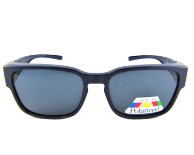 CENTROSTYLE Sovraocchiali da sole colore blu, squadrato, lente nera s0092