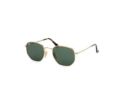 RAY BAN Occhiali da sole colore oro, esagonale, lente verde