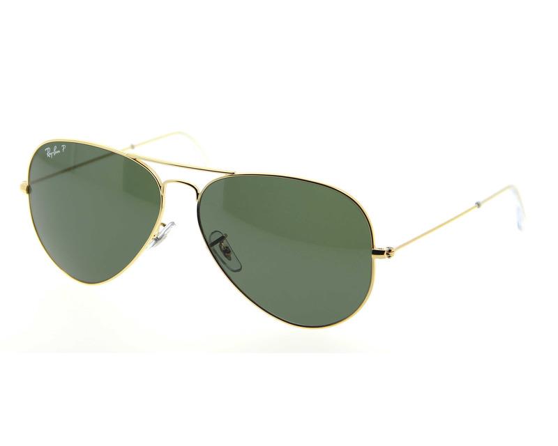 RAY BAN Occhiali da sole colore oro, a goccia, lente verde