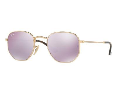 RAY BAN Occhiali da sole colore oro, esagonale, lente viola specchiato