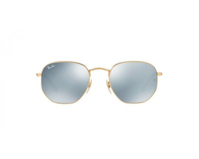 RAY BAN Occhiali da sole colore oro, esagonale, lente grigio specchiato