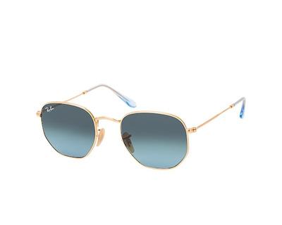 RAY BAN Occhiali da sole colore oro, esagonale, lente blu sfumata